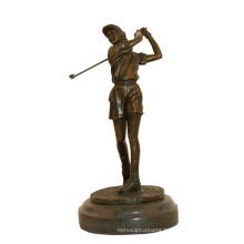 Sports Brass Statue Golf Female Player Decor Bronze Sculpture Tpy-784