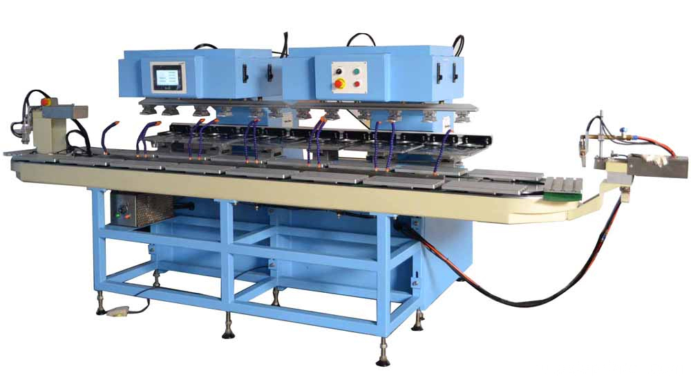 Fully auto 12-Color Pad Printing Machine with conveyor