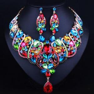 Moda colar de cristal conjunto com diamantes azuis