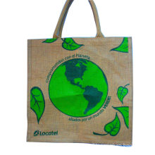 Water Proof Paste Green Earth Gunny Bag, Handle Cotton Weaving Reusable Carrier Bags