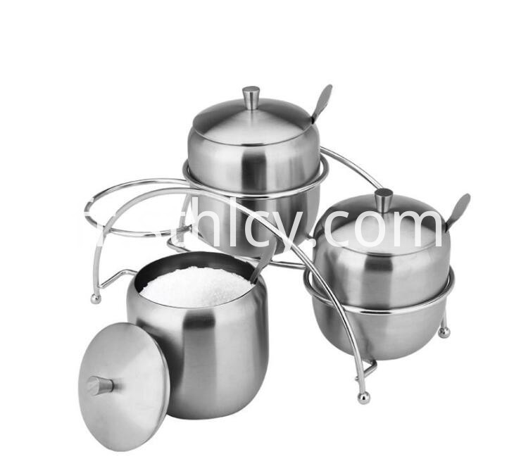 stainless steel condiment pots