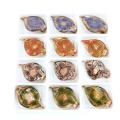 MC0029 Or feuille de poussière collier fait à la main Lampwork feuille de verre pendentifs 12 pcs / boîte