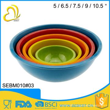 high quality practical melamine bamboo fruit mixing bowl set