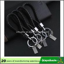 Porte-clés en cuir noir tissé