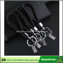 Black Weave Leather Keychain