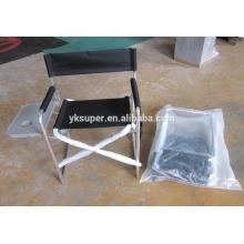 Cadeira de diretoria dobrável de lona de alumínio com mesa lateral e malas