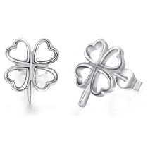 Boucles d'oreilles en forme de 925 en argent sterling à quatre feuilles