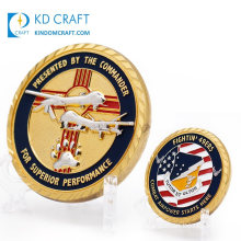 Wholesale Custom Metal Embossed 3D Soft Enamel Die Struck Us Military Army Air Force Fighter Helicopter Coins with Diamond Edge
