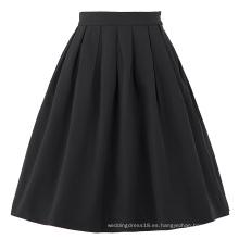Belle Poque Stock algodón Spandex Negro Vintage 50s vestido retro falda BP000154-1