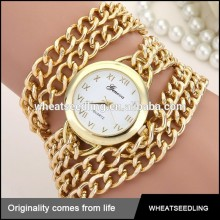 geneva gold bracelet stainless steel chain wrist watch