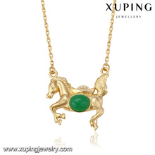 41508 china hot sale product fashion jewelry gold horse malay jade gold plated jewelry necklace