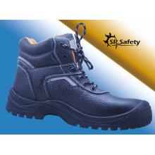 SRSAFETY Nouveau style de haute qualité embossement de vache fendu chaussures de sécurité en cuir chaussures de sécurité en acier noir, fabriqué en Chine