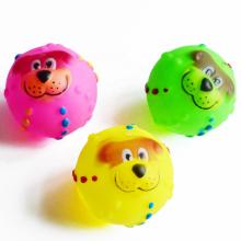 Juguete resistente del perro del animal doméstico del vinilo de la sonrisa de la bola que chirría