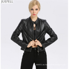 Collar corto de cuero nuevo de las mujeres de la moda chaqueta de cuero delgada sección corta de las chaquetas al por mayor de la moda europea y americana