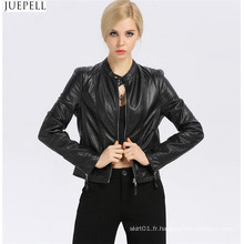 New Fashion Women's Small Leather Collar Slim veste en cuir section courte de la mode européenne et américaine en gros vestes