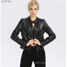 Nova moda feminina de couro pequeno gola jaqueta de couro fino curto seção de europeus e americanos de moda atacado jaquetas