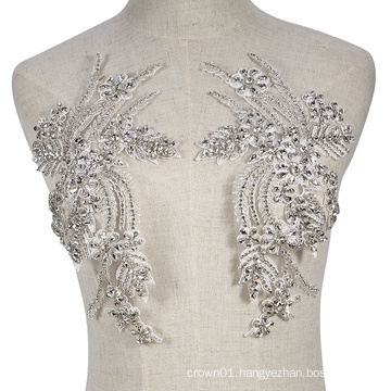 Cheerfeel lace crystal flower decorative wedding dress applique patch for wedding and party dress RM-404