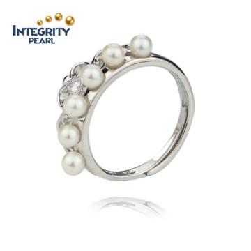 Bague en perles d'eau douce sterling de 925 Bague à perles rondes de 3,5 à 4 mm AA