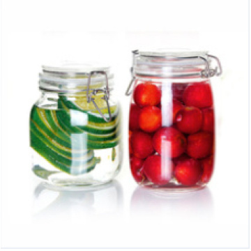 Jarro de almacenamiento de vidrio hermético con clip de metal, vidrio de tarro de miel, tarro de galletas de vidrio