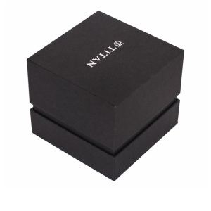 Black single watch box with white logo