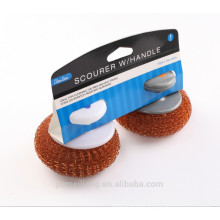 Hot Sales Copper Coated Scourer / Copper Mesh Ball Scourer With handle