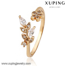 13775 Fashion Latest Cubic Zirconia Leaf Jewelry Finger Ring en oro 18k -Plated