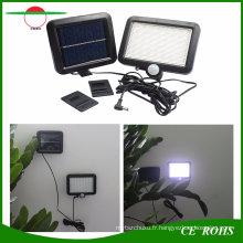 Outdoor LED Solar Powered 56 LED Lumière de inondation solaire Lumières de jardin PIR Capteur de mouvement du corps Projecteurs solaires Spotlights Lampe