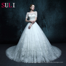 ZXB12 vestido de noiva mangas curtas vestido de casamento muçulmano de renda