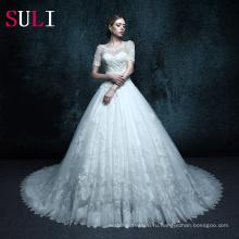 ZXB12 свадебное платье с коротким рукавом кружева мусульманин свадебное платье