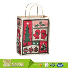 Paquete profesional de impresión personalizada de la impresión de lujo reciclado de regalo envoltura de bolsas de papel Kraft Navidad