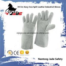 35cm vaca gris cuero dividido mano industrial de seguridad soldadura guante de trabajo