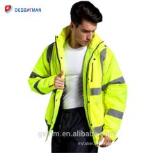 2018 Fabrik Großhandel Wasserdicht Hallo Vis Gelb Hohe Sichtbarkeit Refelctive Sicherheit Parka Arbeitskleidung Winter Arbeit Jacken