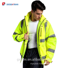 2018 Factory Wholesale Waterproof Hi Vis Yellow High Visibility Refelctive Safety Parka Workwear Winter Work Jackets