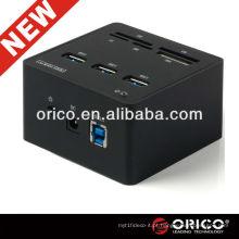 ORICO 3H3C USB3.0 HUB Leitor de cartão All in One para OEM, USB3.0 alumínio HUB; Hub do leitor de cartões