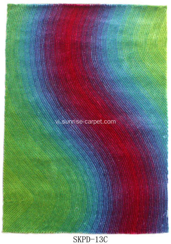 Rainbow Silk Shaggy with Blading Design