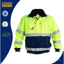 Hola Vis invierno una chaqueta acolchada con Reflector cinta Workwear