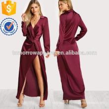 Атласная передняя Твист обернуть платье Производство Оптовая продажа женской одежды (TA3213D)