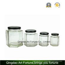 Botella de vidrio con tapa de metal para almacenamiento