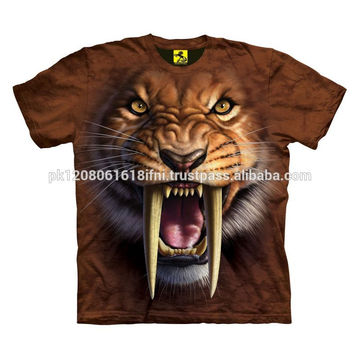 Tiger 3 D polyester sublimated high quality printed t shirt for men and women