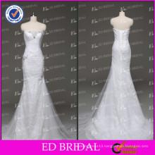 2017 ED Bridal Real Sample Pleated Mermaid Lace Appliqued Crystal Egypt Wedding Dress
