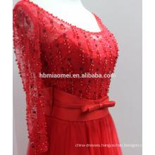 2017new fashion long design one piece evening dress patterns long sleeve soft net deep v-neck long big girls evening party dress