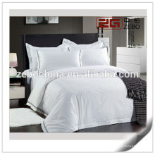 Hotel Gebrauchtes Baumwollweiß Customized Embroidery Logo Hotel Living Bettwäsche