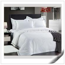 Hotel Usado Algodão Branco Customized Bordados Logo Hotel Living Bedding