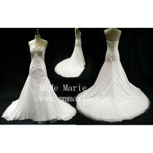 Eiffel Sexy backless V-neckline applique lace chepel train wedding dress BYB-14599