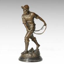 Statue de la vie orientale Élevage Figure de bronze masculin Sculpture TPE-390