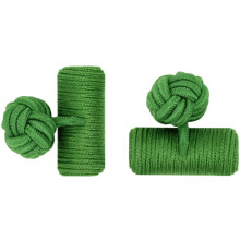 Green Custom Barrel Elastic Silk Knot Cufflinks