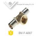 EM-F-A007 Conector de compresión cromada Adaptador de tubo de 3 vías de latón