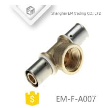 EM-F-A007 Verchromter Druckverbinder Messing 3-Wege-Rohrverschraubung