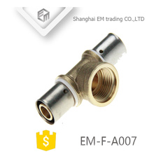 EM-F-A007 Chromed Compression Connector Brass 3-way pipe fitting