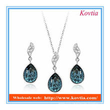 African blue crystal necklace and earring fashion jewelry set